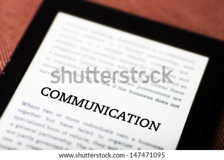 Communication concept on tablet pc ebook - stock photo
