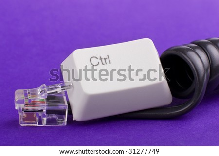 Communication control: censorship concept made of phone cord and control key - stock photo
