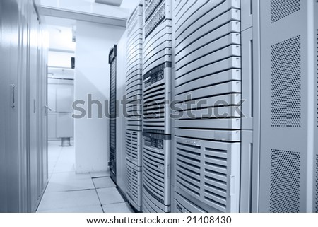 communication data center interior - stock photo