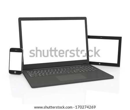 Communication equipment. Blank Laptop, Smart Phone and Tablet PC isolated on white background - stock photo