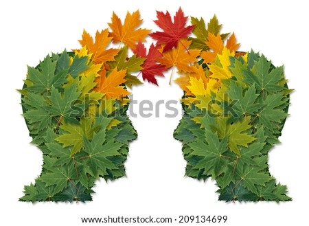 Communication exchange business partnership and teamwork symbol as two human heads made of tree leaves connected together as a symbol of network relationships. and nature cooperation. - stock photo