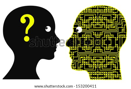 Communication failure with geek due to language barrier and different way of thinking - stock photo