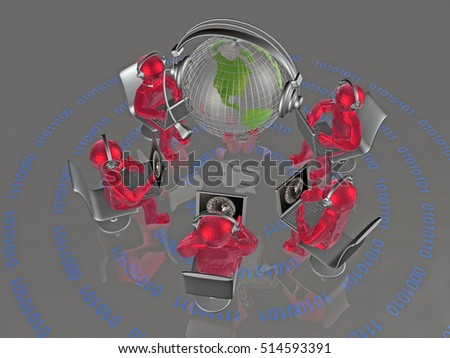 Communication - globe, red mans and notebooks on digital background, 3D illustration.