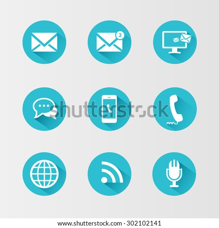 Communication icons on blue circle with a long shadow. Rasterized Copy