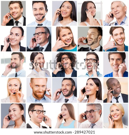 Communication makes people closer. Collage of diverse multi-ethnic and mixed age people expressing positivity while talking on the mobile phones   - stock photo