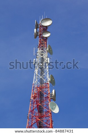 Communication Microwave Tower against beautiful blue sky - stock photo
