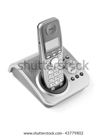 communication objects. digital cordless answering system isolated on white