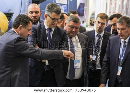 Communication of business people. St. Petersburg, Russia - 3 October, 2017. Participants and visitors of the annual St. Petersburg Gas Forum.