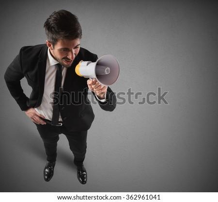Communication on megaphone - stock photo