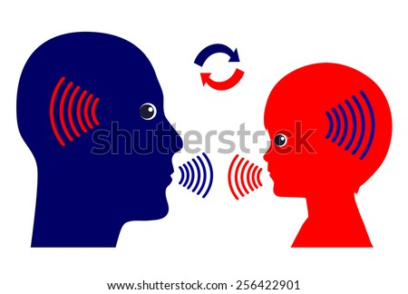 Communication Pattern. Concept sign of how adults should talk with kids in early childhood education - stock photo