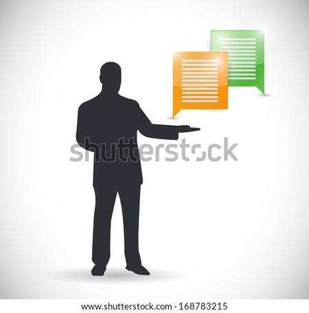 communication presentation illustration over a white background - stock photo