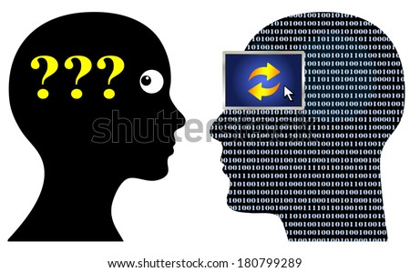 Communication Problems with Geek.Language barrier and different ways of thinking causing confusion - stock photo
