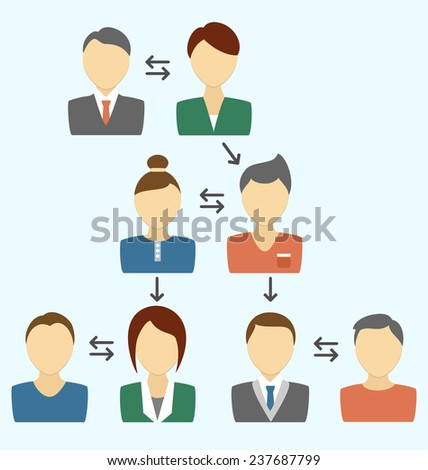 Communication process with avatars isolated on blue background