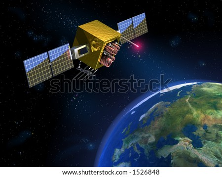 Communication satellite and planet earth. CG illustration - stock photo