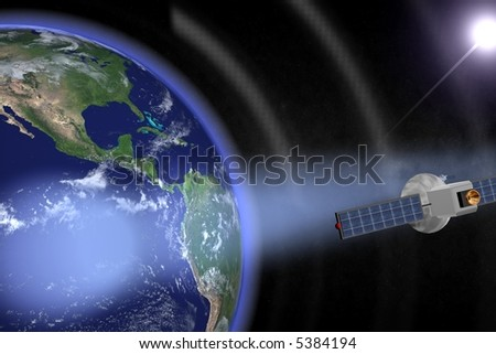 Communication satellites orbiting the earth with visible beams. Render - stock photo