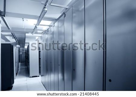 communication server center interior in blue tone - stock photo