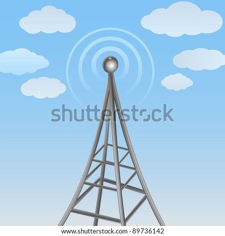 communication signal on cloudy background - stock photo