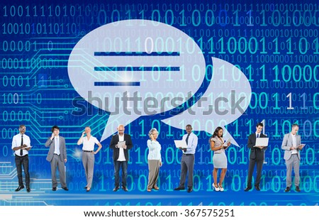 Communication Speech Bubbles Conversation Information Concept - stock photo