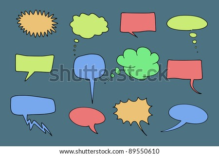 Communication speech bubbles set. Chat and thought illustration collection. - stock photo