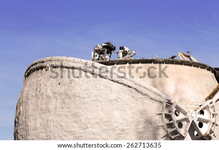 Communication system with space objects in a spherical protection - stock photo