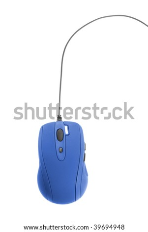 communication technology. blue computer mouse isolated on white