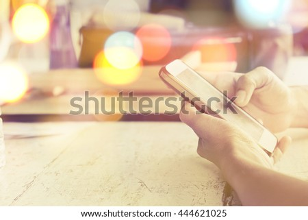 communication technology concept, close up image of people using smart phone - stock photo