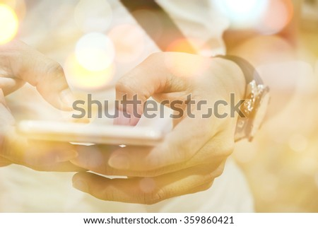 communication technology concept,Multiple exposure of smart phone and Bokeh - stock photo