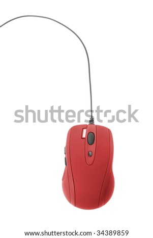 communication technology. red computer mouse isolated on white