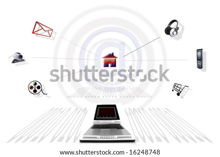 Communication through the Internet - stock photo