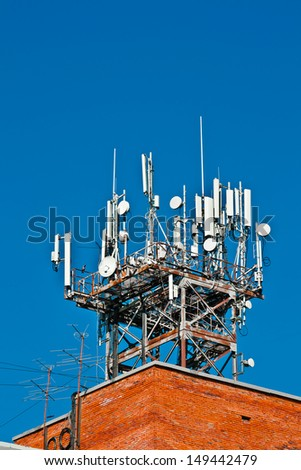 Communication tower of TV station in Koltsovo town (Russia, Novosibirsk region) - stock photo