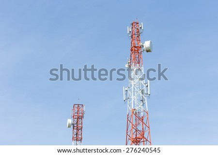 Communication Tower on blue sky background in Thailand - stock photo