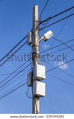 Communication wires on a pole
