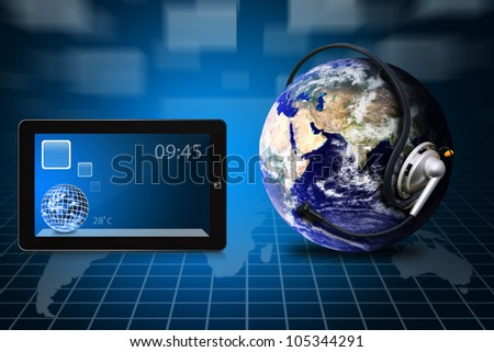 Communication World and digital touch pad : Elements of this image furnished by NASA - stock photo