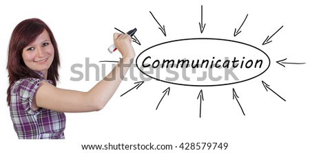 Communication - young businesswoman drawing information concept on whiteboard.  - stock photo
