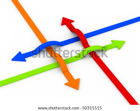 Communications. Multicolor arrows isolated on white background. High quality 3d render. - stock photo