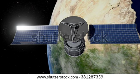 Communications satellite in space (Elements of this image furnished by NASA) - Futuristic/Modern International Atmosphere  - stock photo