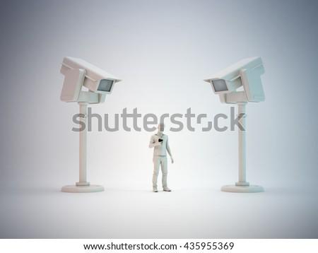Communications surveillance - 3D illustration - stock photo