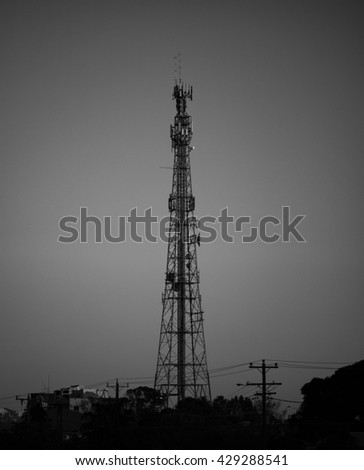 Communications Tower at Dusk