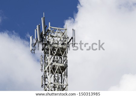 communications tower for tv and mobile phone signals - stock photo