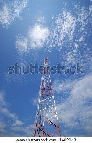 Communications tower from below - stock photo