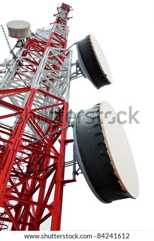 Communications Tower isolate on white background - stock photo