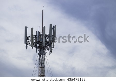 Communications tower pole mobile internet wifi with cloud sky. - stock photo