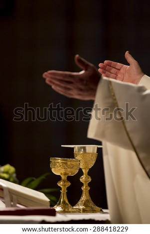 communion in a church - stock photo