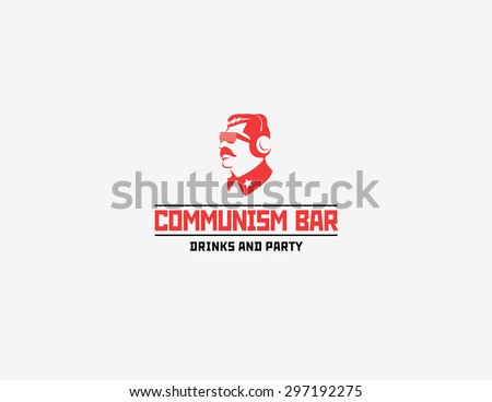 Communism style logotype for bar and night club - stock photo