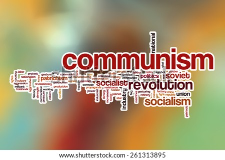 Communism word cloud concept with abstract background - stock photo