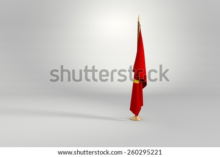 Communist isolated flag on a brown and golden wooden mast 3d illustration - stock photo