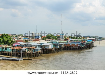 Communities along the river in Bangkok, Thailand. - stock photo