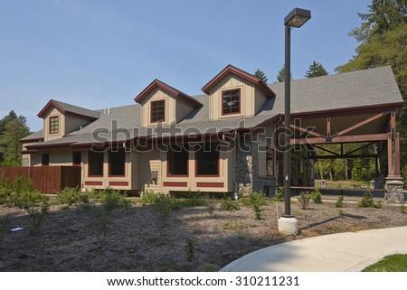 Community center building in Camas Washington state. - stock photo