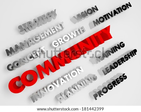 Community. Concept abstract background with 3D voluminous words. - stock photo