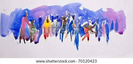 Community concept on abstract water color - stock photo